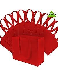 """16"""" W x 12"""" H x 15.2cm D grande rojo Super fuerte calidad Premium bolsas de comestibles reutilizables, resistente bolsas de la compra, bolsas de regalo, bolsas de Boutique–12pcs."""