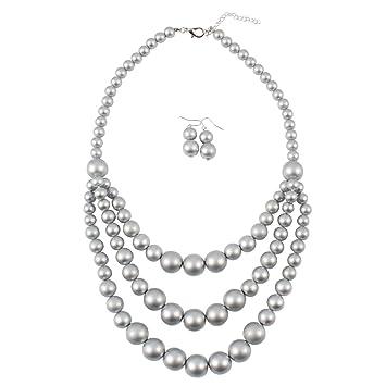 efa35d440a43 Collar y pendientes bisutería conjunto de boda Cadena de oro de plata Collar  de perlas en ...