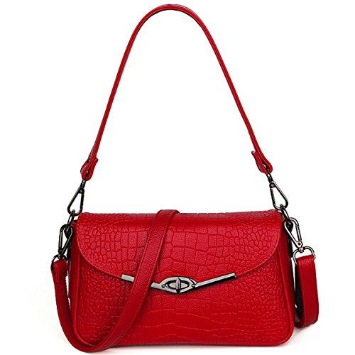 Estimadas señoras bolso Repujado Bolsa botón cuadrado pequeño bolso Messenger bag, rojo Rojo