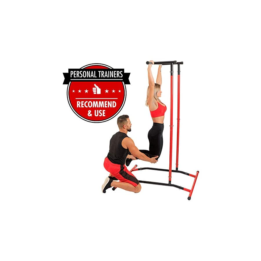 GoBeast Pull Up Bar Free Standing Dip Station, Portable Power Tower Home Gym Equipment, Storage Bag and Downloadable…