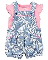 Carter\'s Baby Girls\' 2-Piece Tee and Shortalls Set (9 Months, Blue/Pink)