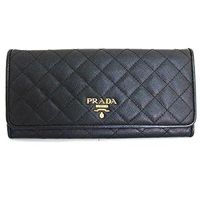 268604f01682 Amazon | [プラダ] サフィアーノキルト キルティング 二つ折り長財布 ブラック 中古 | レディースバッグ・財布