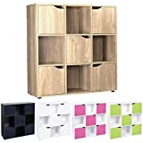 Cube Shelving Unit - Wood Bookcase with Doors - Boys & Girls Bedroom Furniture - ASAB- 9 Cube 5 Door Oak Storage Unit WHITE