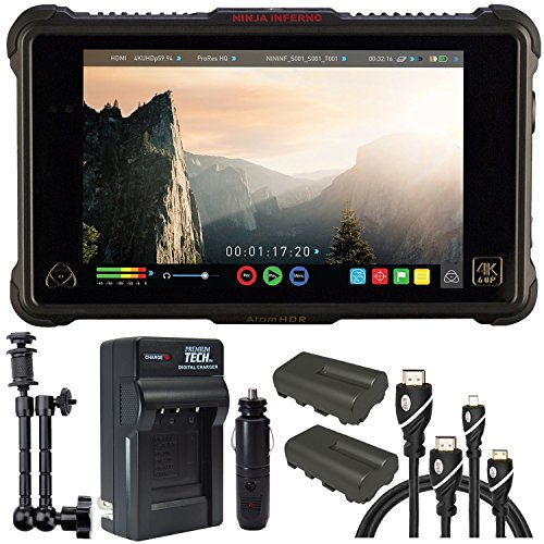 Atomos Ninja Inferno 7'' 4K HDMI Recording Monitor, Battery, Charger, Caltar 7'' Articulating Magic Arm, HDMI A-D Basic 3' Cable and A-C Basic 3' Cable by Calumet