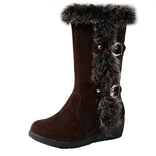 Gaorui Women Faux Fur Lined Mid Calf Boots Pull On Winter Casual Boots Wedge/Flat Heel Faux Suede Leather Snow Boots Brown