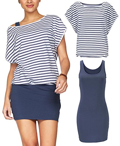 Jusfitsu Women's 2 Piece Casual Summer Striped T Shirt Tops Bodycon Mini Tank Dresses Navy Stripes M