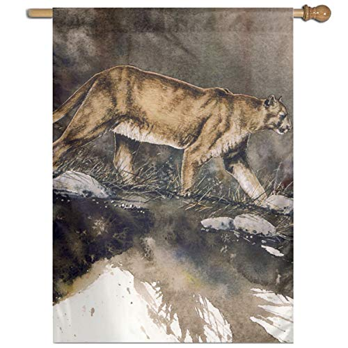 YUANSHAN Single Print Home Garden Flag Cougar Polyester Indoor/Outdoor Wall Banners Decorative Flag 27