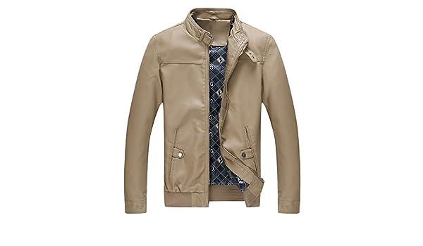 eab6143fce1a Bee Late Men s Slim Vintage Stand Collar Faux Leather Moto Biker Zipper Jacket  Coat