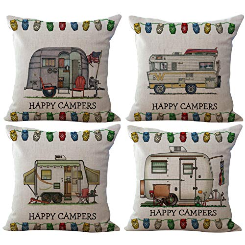 ChezMax Linen Blend Happy Campers Cushion Cotton Pillow Square Decorative Throw Pillow 18 X 18