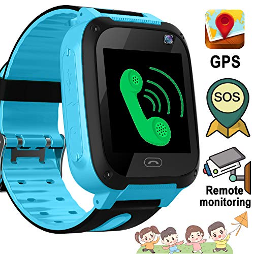 kids Smart Watch Phone GPS Tracker SOS for Children Touch Screen Fitness Tracker Anti-Lost Camera Game Flashlight Alarm Clock Holiday Birthday Back to School Gift for 3-12 Year Old Girls Boys Children