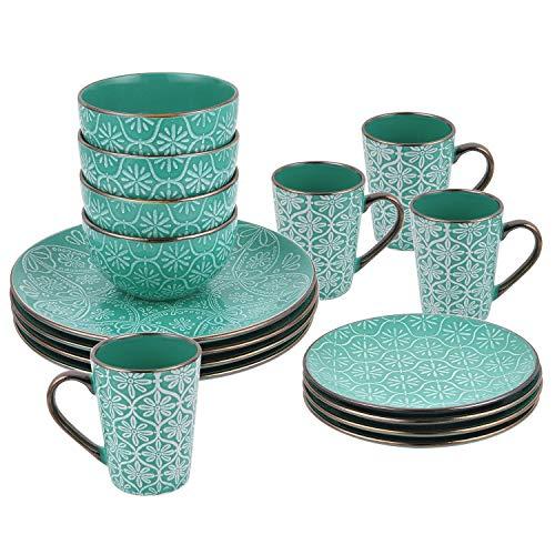 16 Piece Dishes Dinnerware Set, Retro Green Embossed with Golden Trim Ceramic Dinnerware Set Stoneware Dinnerware Set, Set for 4