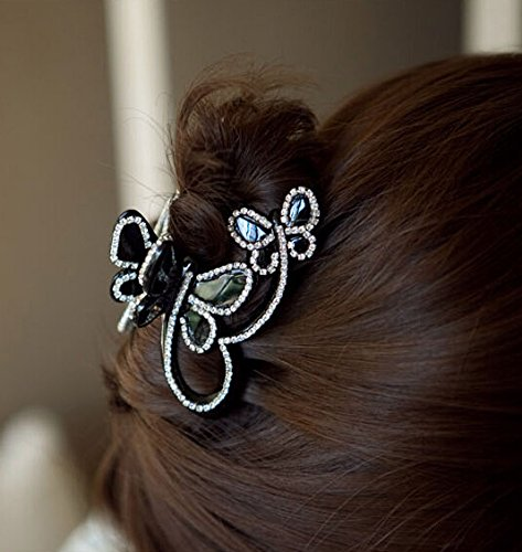 Cfalaicos 1pcs Butterfly Flying Rhinestone Crystal Hair Jewelry Hairpin Hair Claw Gripper Side-knotted Clip