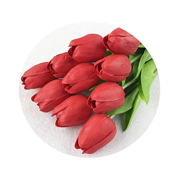 31pcs/lot PU Fake Artificial Flower Bouquet Real Touch Silk Tulip Flowers for Party Wedding Home Decoration Flower,red