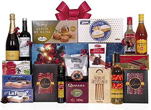 Lote navideño con surtido de embutidos ibericos de bellota, pieza de queso, botella de