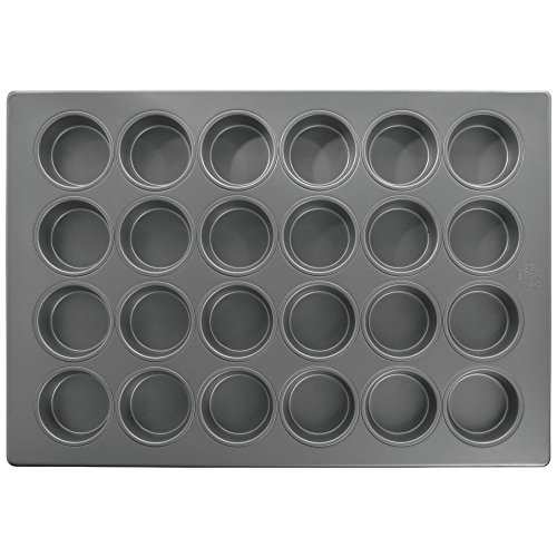 HUBERT Aluminized Steel 24 Cup Jumbo Muffin Pan with Silicone Glaze - 25 7/8''L x 17 7/8''W x 1 1/2''D by Hubert