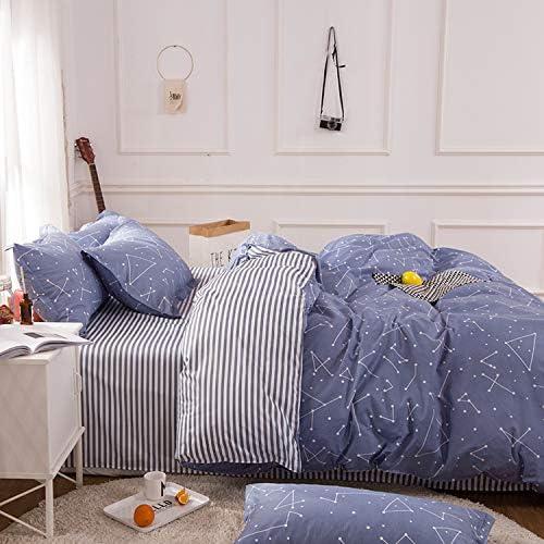 happy-Boutique Parure De Lit Etoile Ciel Literie Simplified Modernity Coton Literie Housse De Couette + Drap + Taies d'oreiller Flat Bed Sheet,Super King
