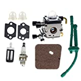 AUTOKAY FS45 Carb FS55 Carburetor Kit with Fuel Air Filter Sparkle Plug for STIHL Weed Eater FS38 FS45C FS45L FS46 FS46C FS55C FS55R FS55RC KM55 HL45 Trimmer Parts C1Q-S66, C1Q-S71, C1Q-S97 A