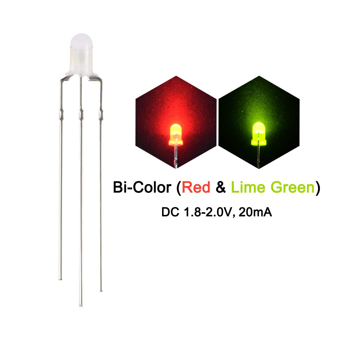 sourcing map 3mm LED Diodes and Resistors Kit Red /& Lime Green Common Cathode 430 Ohm Resistors Round Top Frosted Lens No Edge for DC 6-12V 25 Sets Diffused Bi-Color for DIY Project
