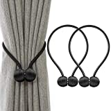 curtain tie back ideas IHC Window Curtain Tiebacks Clips VS Strong Magnetic Tie Band Home Office Decorative Drapes Weave Holdbacks Holders European Style 1 pair (Black)
