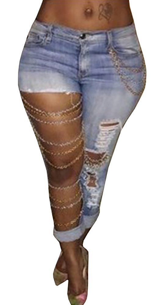 Women's Ripped Hole Denim Stretch Washed Boyfriend Jeans Trousers X-Large Blue