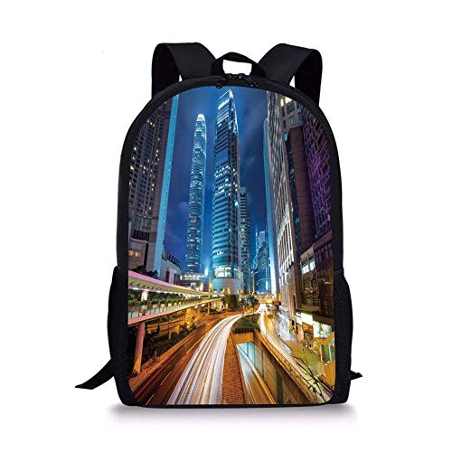 (School Bags City,Fast Moving Cars at Hong Kong Highways Modern Life Speed Traffic Nighttime in the City,Multicolor for Boys&Girls Mens Sport)
