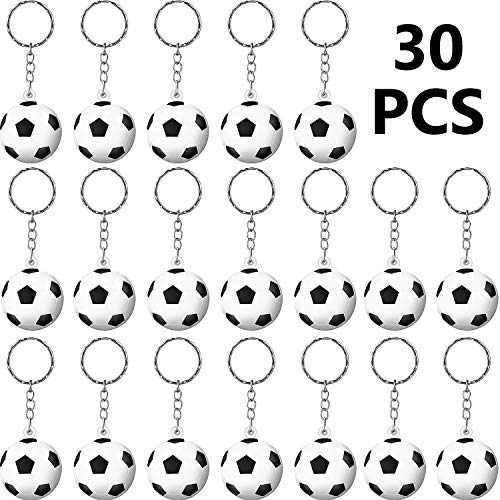 (30 Pack Soccer Keychains Soccer Stress Ball Foam Squeeze Sports Ball for School Carnival Reward, Party Bag Gift Fillers)