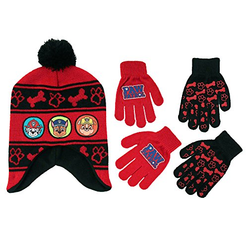 Patrol Mitten (Nickelodeon Little Boys Paw Patrol Character Hat and 2 Pairs of Mittens or Gloves Cold Weather Set, Age 2-7 (Little Boys Age 4-7 Hat & 2 Pair Gloves Set, Red))