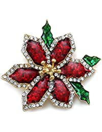 SoulBreeze Merry Christmas Jewelry Poinsettia Flower Tree Candy Cane Charm Brooch Pin