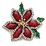 SoulBreezeCollection Beautiful Christmas Red Poinsettia Flower Brooch Pin Christmas Gift