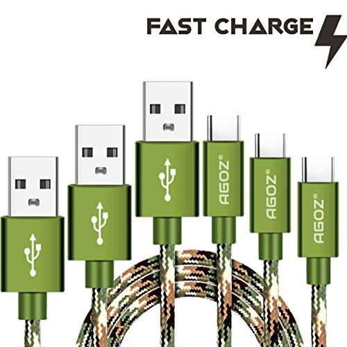 Agoz 3PACK 10ft / 6ft/4ft Camo Tactical USB-C FAST Charger Cable For Samsung Galaxy Note 10 9 8, S10 Plus S10e S9 S8 A10e A20 A50 A70 FOLD, LG G8 G7 V40, Moto Z4 Z2 Z3 X4, Pixel 4 3A XL, OnePlus 6T 7T
