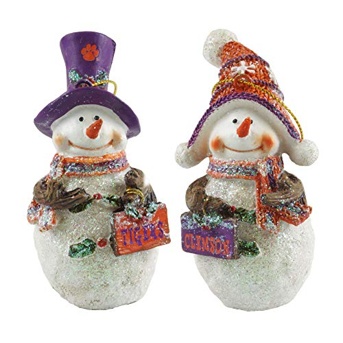 Hanna's Handiworks Clemson Tigers Collegiate Snowman Christmas Ornaments
