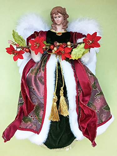 Christmas Tree Toppers - Angel Tree Topper with Poinsettia Garland - 16