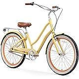 "sixthreezero EVRYjourney Women's 3-Speed Step-Through Hybrid Cruiser Bicycle, Cream w/Brown Seat/Grips, 26"" Wheels/ 17.5"" Frame"