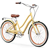 "sixthreezero EVRYjourney Women's 3-Speed Step-Through Hybrid Cruiser Bicycle, Cream w/Brown Seat/Grips, 26"" Wheels/ 17.5"" Frame"
