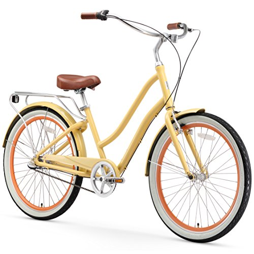 sixthreezero EVRYjourney Women's 3-Speed Step-Through Hybrid Cruiser Bicycle, Cream w/Brown Seat/Grips, 26