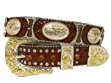 New Mens Western Cowboy Cowgirl Gold Longhorn Silver Hourglass Concho Shiny Belt