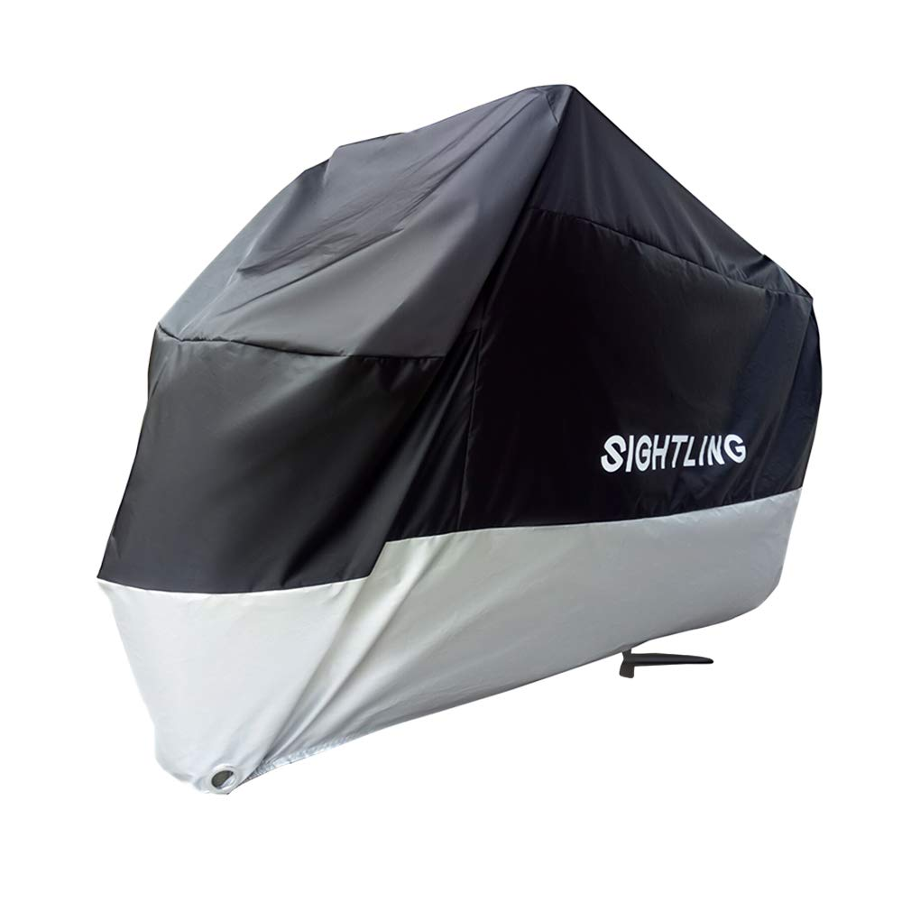 SIGHTLING Motorcycle Cover 210D Oxford Fabric Waterproof Motorbike Cover Heavy Duty Anti Sun UV Dust Rain Indoor Outdoor Protective Breathable Cover with Storage Bag, 245 X 125 X 105 CM