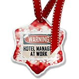 Christmas Ornament Warning Hotel Manager At Work Vintage Fun Job Sign, red - Neonblond