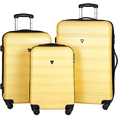 Merax Travelhouse Luggage 3 Piece Expandable Spinner Set (Yellow)