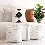 Decorative Pillow Cover - HOMFINER Decorative Throw Pillow Covers for Couch, Set of 6, 100% Cotton Modern Design Stripes Geometric Bed or Sofa Pillows Case Faux Leather 18 x 18 inch