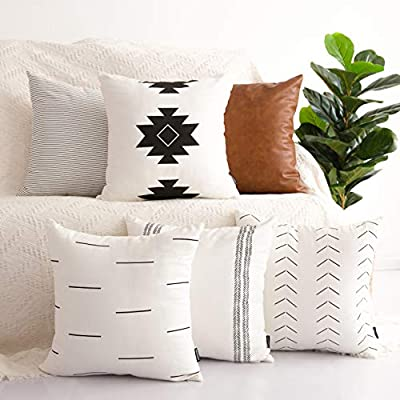 HOMFINER Decorative Throw Pillow Covers for Couch, Set of 6, 100% Cotton Modern Design Stripes Geometric Bed or Sofa Pillows Case Faux Leather 18 x 18 inch - Make sure this fits                by entering your model number. 100% Cotton COVERS ONLY - Set of 6 pillow covers ONLY, 18x18 in. The pillow inserts are NOT included. - living-room-decor, living-room, home-decor - 51SlUHEvfBL. SS400  -