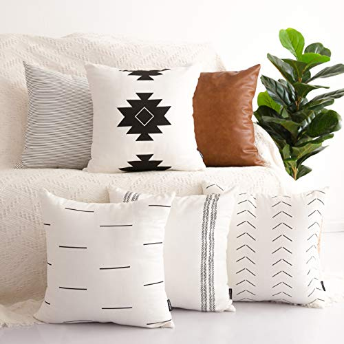 HOMFINER Decorative Throw Pillow Covers for Couch, Set of 6, 100% Cotton Modern Design Stripes Geometric Bed or Sofa Pillows Case Faux Leather 18 x 18 inch (Sets Moroccan Bed)