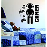 Gamer with Controller Version 2 Quote Decal Sticker Wall Vinyl Art Design Gamer Cool Funny Game Room