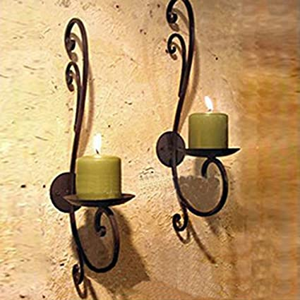 Amazon.com: Iron Candle Holder Wall Art Candle Hanging Candle Holder ...