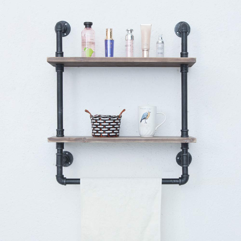 Industrial Bathroom Shelves Wall Mounted 2 Tiered,Rustic 24in Pipe Shelving Wood Shelf With Towel Bar,Black Farmhouse Towel Rack,Metal Floating Shelves Towel Holder,Iron Distressed Shelf Over Toilet by Industrial Furniture (Image #2)