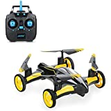 Blexy Flying RC Car 2.4Ghz 4CH Electric Vehicle 6-Axis Gyro Remote Control Quadcopter Headless Mode Stunt Drone Mini RC Helicopter with 3D Flip,LED Lights and One Key Return Yellow