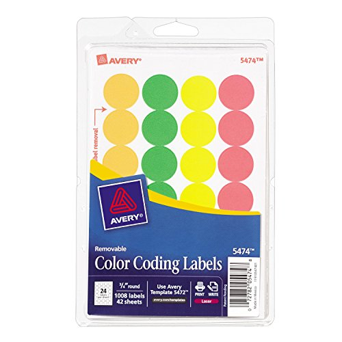 Avery Removable Print or Write Color Coding Labels for Laser