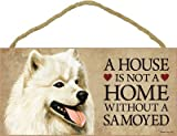 (SJT30111) A house is not a home without a Samoyed wood sign plaque 5