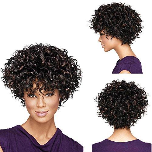 Mme perruque fil de haute température striée sombre personnalité de la mode des cheveux bruns bouclés à manches courtes outils de beauté