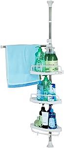 Baoyouni Bathroom Shower Corner Caddy Bath Tub Storage Rack Shelves Organizer Tension Pole with 3-Tier Adjustable Tray & Towel Bar - Ivory